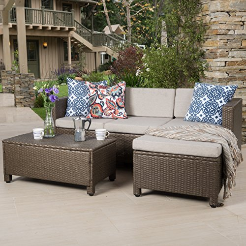 majorca outdoor l shape brown wicker sofa with water resistant beige cushion home patio and. Black Bedroom Furniture Sets. Home Design Ideas