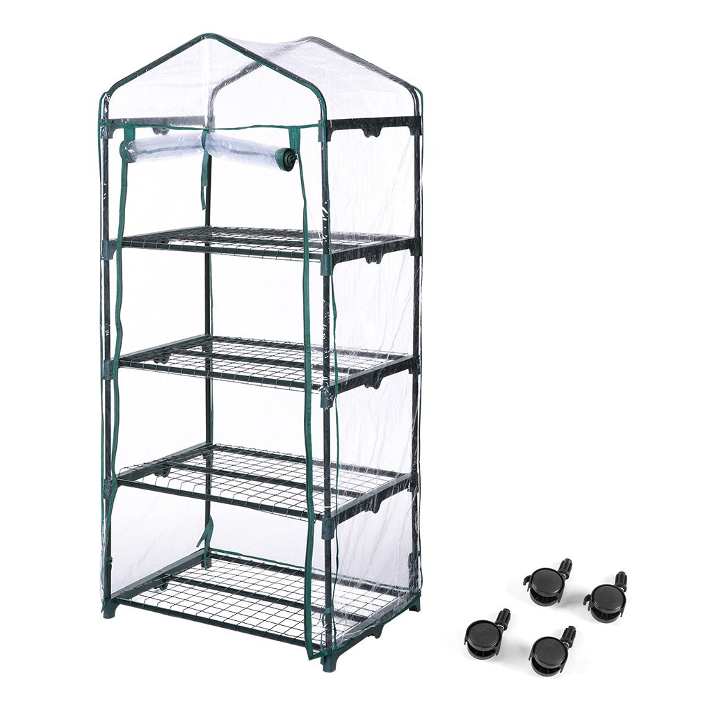 Finether 4-Tier Mini Greenhouse with Transparent Cover and Clear Coverfor Indoor Outdoor Herb Flower Garden Balcony, Portable, 27.2''W x 19.3''D x 62.2''H