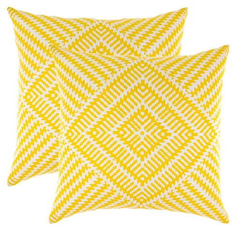 TreeWool Decorative Square Throw Pillow Covers Set Kaleidoscope Accent 100% Cotton Cushion Cases Pillowcases (16 x 16 Inches / 40 x 40 cm; Yellow & White) - Pack of 2