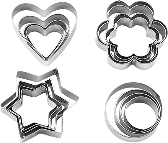 6X Heart Plastic Cookie Fondant Cutter Scone Square//Star Crinkle Edge Mold