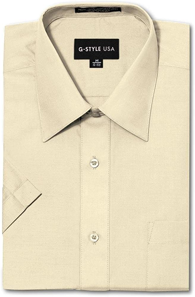 G-Style USA Mens Regular Fit Short Sleeve Solid Color Dress Shirts