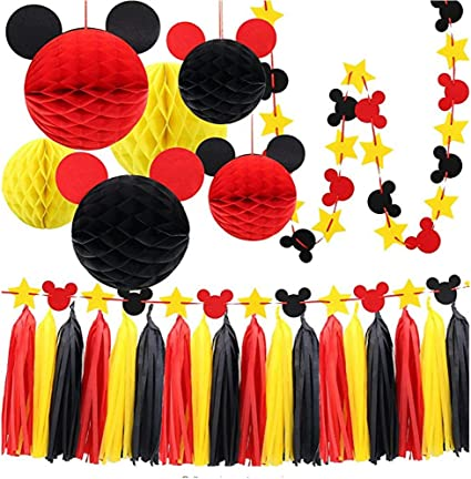 Mickey Mouse Party Decoration Kit, Colorful Mickey Paper Honeycomb Balls, Red Yellow and Black Tassel Garland Tissue Felt Banner Kids Birthday Themed ...