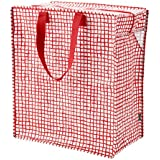 Ikea KNALLA Reusable Eco Friendly Shopping Grocery Gift Bag Zipper 12 Gallon, Red with white dots, new!
