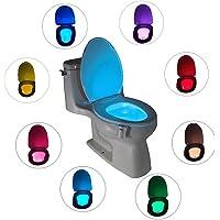 Détecteur de mouvement LED WC Nuit Lumière 16couleurs changeantes egymcom de Salle de Bain WC Nuit Lumière (seulement Active dans l'obscurité)