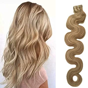 Amazon Com 22 Tape In Extensions Beige Blonde Hair With Blonde