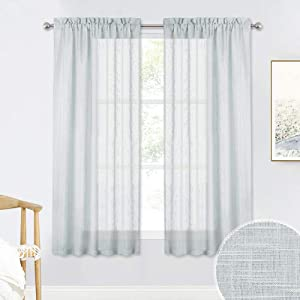 RYB HOME Grey Sheer Curtain Drapes for Kitchen, Soft & Durable Textured Pattern Semi Sheer Curtain Panel for Bedroom Home Office Foyer School Dorm, Dove Grey, Wide 52 x Long 63 per Panel, 1 Pair