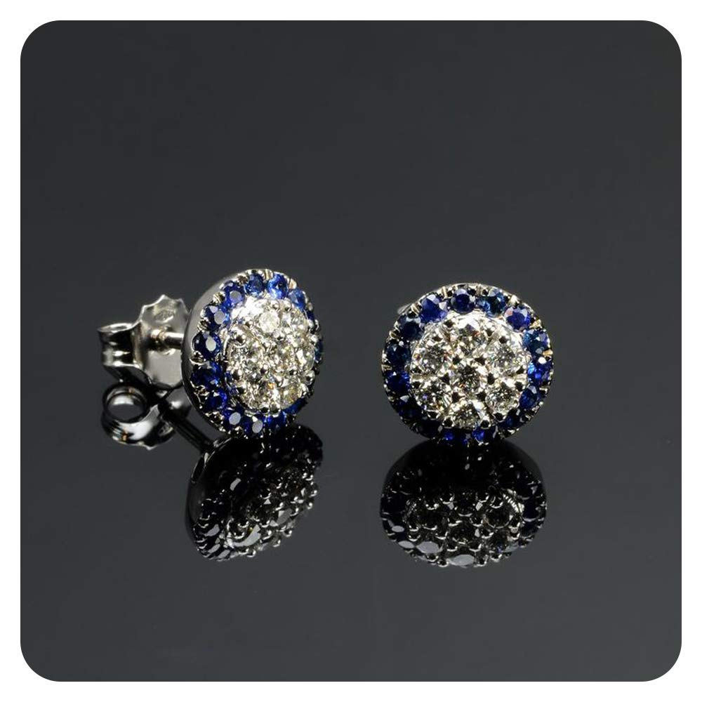 Round Cut Blue Sapphire /& Diamond Fancy Party Wear Flower Stud Earrings .925 Sterling Silver For Womens /& Girls
