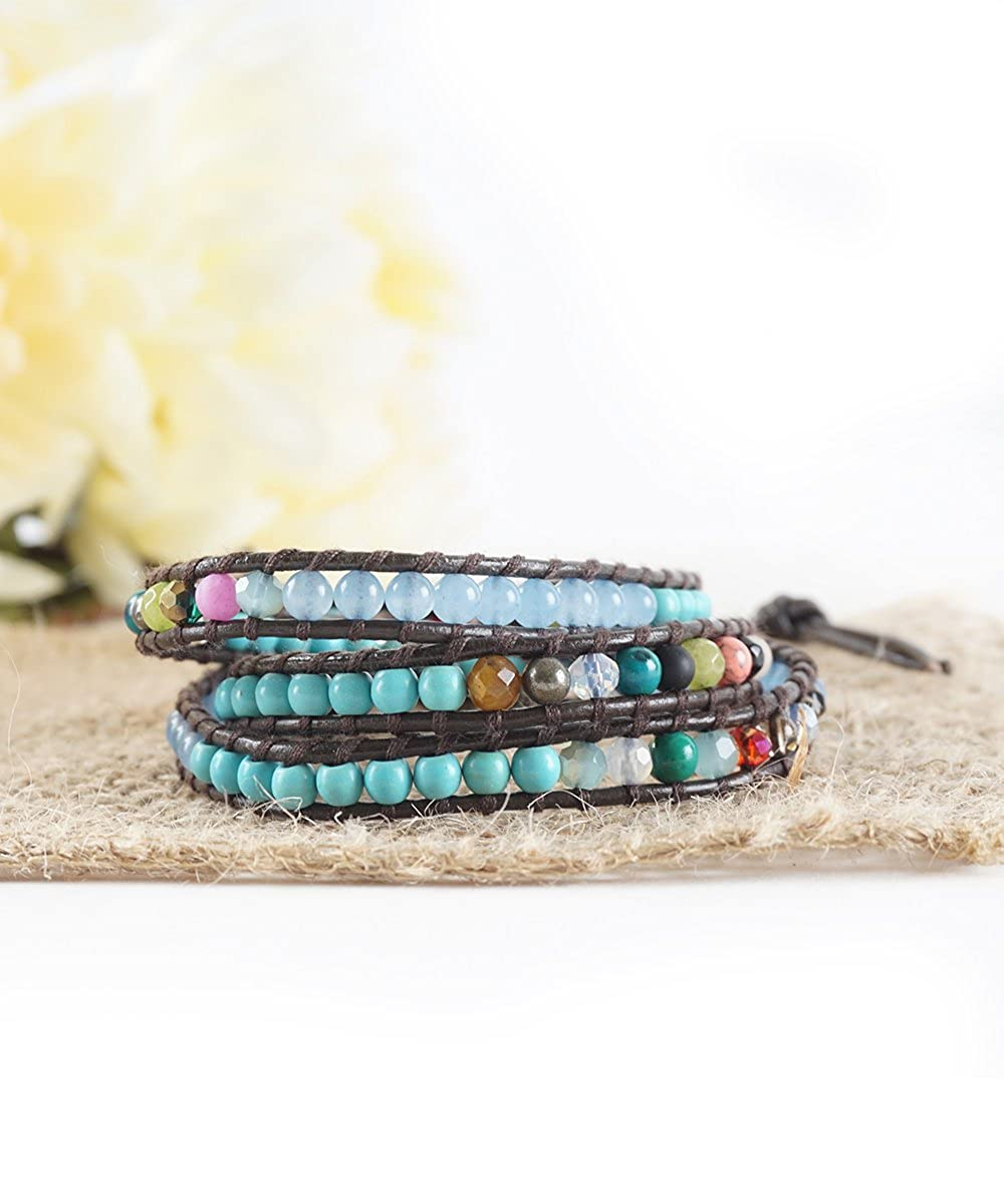The Cali Surfer 23 Turquoise Opal Blue and Multicolor Beaded Brown Leather Wrap Bracelet Baubles N Gems BNG-ONLW56AO