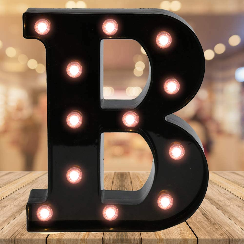 Oycbuzo LED Black Alphabet Letter Night Lights for Home Bar Festival Birthday Party Wedding Decorativeesti (Black Letter B)