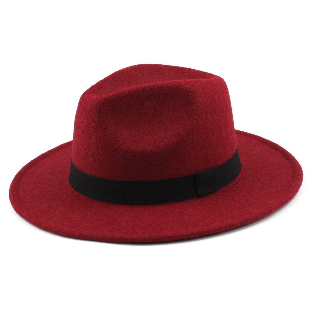 Romacci Unisex Felt Trilby Hats Wide Brim Adjustable Fedora Jazz Hat Caps GA0615B-JRAIXS