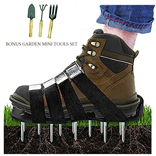 HOTINS Lawn Aerator Shoes Heavy Duty Spiked Aerating Lawn Sandals With 4 Heal Adjustable Straps and Metal Buckles for Aerating Garden Yard(Gift:3 Pieces Garden Mini Tools Set)