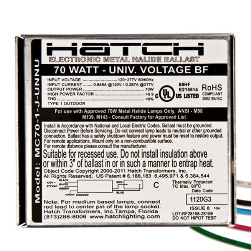 Hatch MC70-1-J-UNNU Electronic MH Metal Halide Ballast, M98, 70W, 120/277V