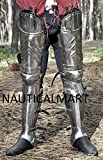 SCA advanced leg armor, complete Gothic fluted UPPER leg ,knees and greaves.