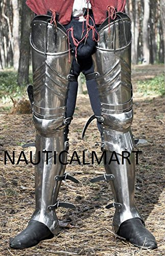 SCA advanced leg armor, complete Gothic fluted UPPER leg ,knees and greaves. by NAUTICALMART (Image #3)