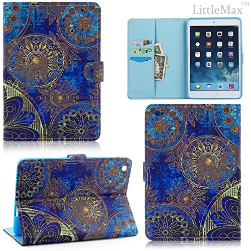 iPad Mini 2 / 3 Case-LittleMax(TM) Synthetic Leather Auto Wake/Sleep Stand Case [Card Holder] Flip Folio Wallet Case Cover for iPad Mini 3/2/1 [Free Cleaning Cloth,Stylus Pen]-03 Metal (Metal Case Stylus)