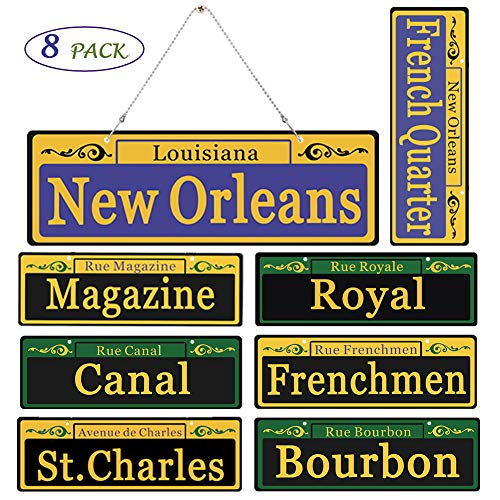 Mardi Gras Decorations New Orleans Street Signs 8 Pack 2019[DUPLEX PRINTING] - 1:1 Size Waterproof PVC Made and Fastness Gurantee Laser Printed, with Extra Metalic Hanging Chains for Mardi Gras Party -