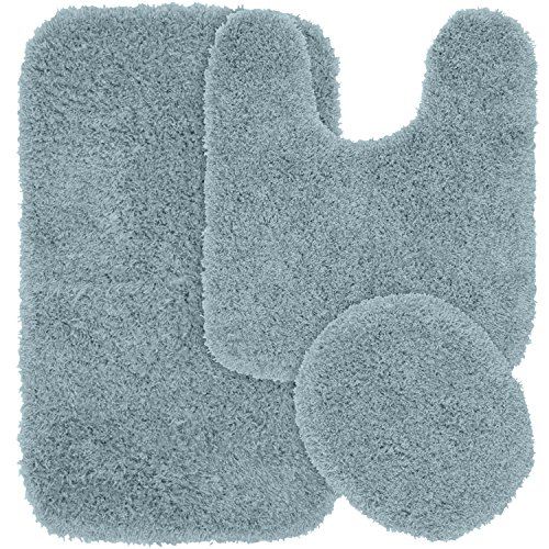 Jazz Shaggy 3 Piece Bath Rug, Basin Blue