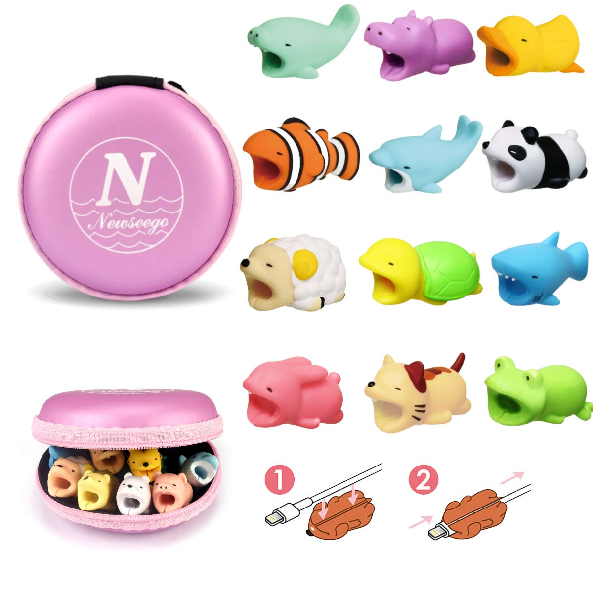 Newseego Compatible iPhone Cable Protector Charger Saver Cable Cute Animal Cable Accessory-12 Pack