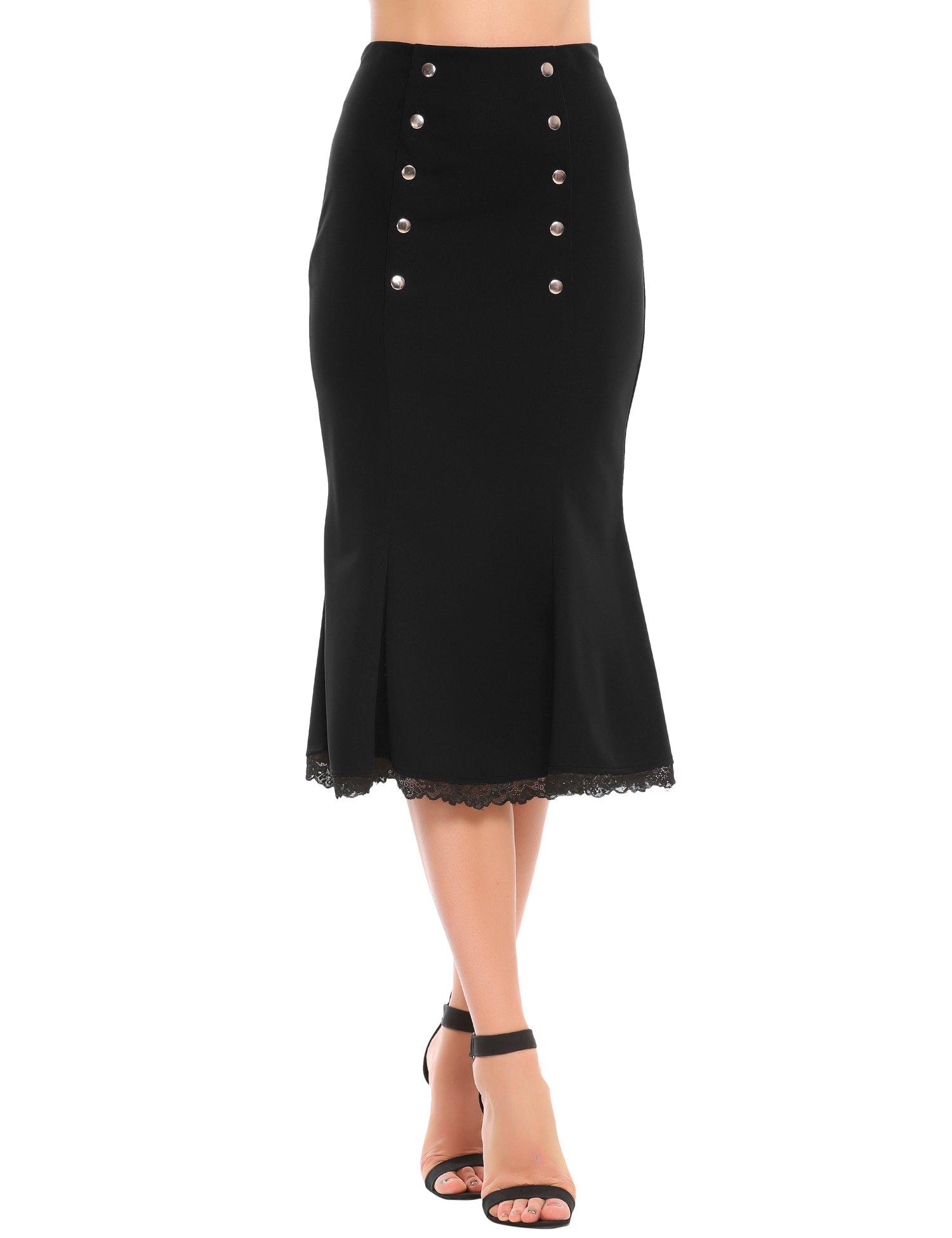 Zeagoo Women's Slim Fit High Waist Party Work Mermaid Bodycon Pencil Midi Skirt(XL,Black)