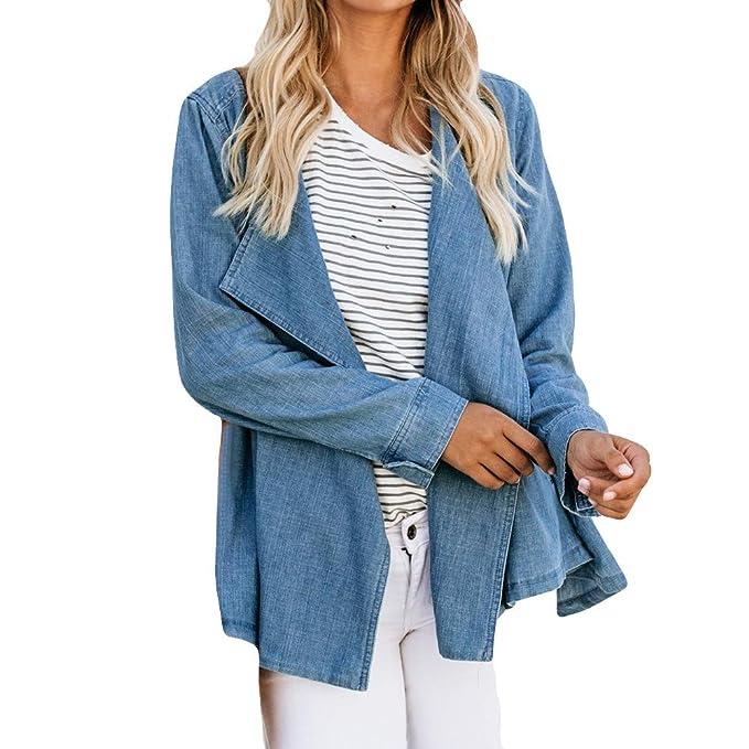 SHOBDW Liquidación Venta Moda para Mujer Denim Cowboy Coat Blusa Camiseta Camisetas sin Mangas Otoño Invierno