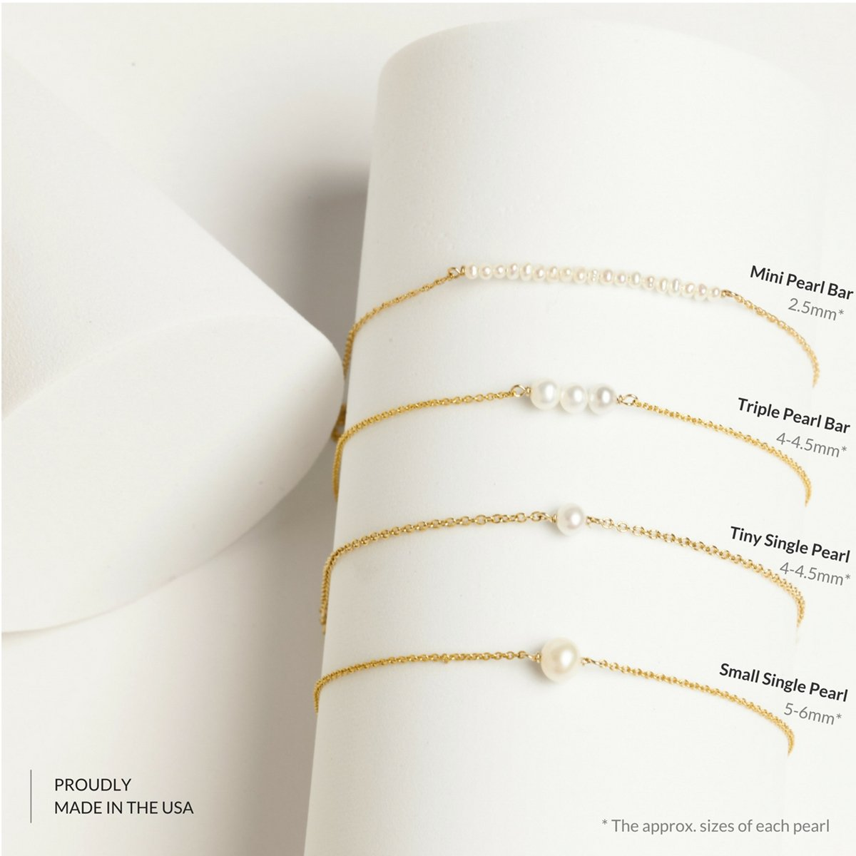 BENIQUE Dainty Necklace Choker for Women - Freshwater Cultured Pearl, Fine Chain for Layering, AAA Cubic Zirconia Drop, 14K Gold Filled, Made in USA, 13''+3'' Adjustable Ext. (Tiny Single Pearl) by BENIQUE (Image #3)
