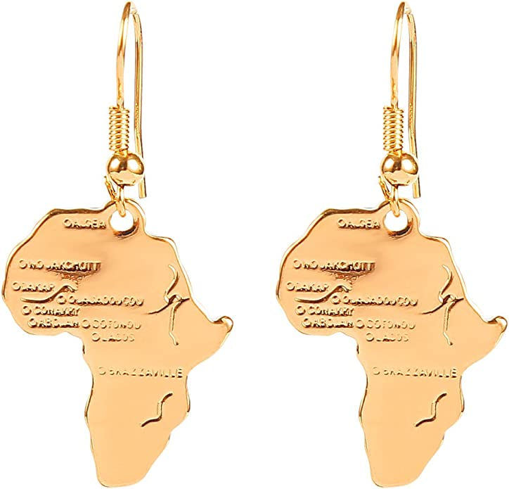 Unique African Style 18k Gold Filled Dangling Earrings