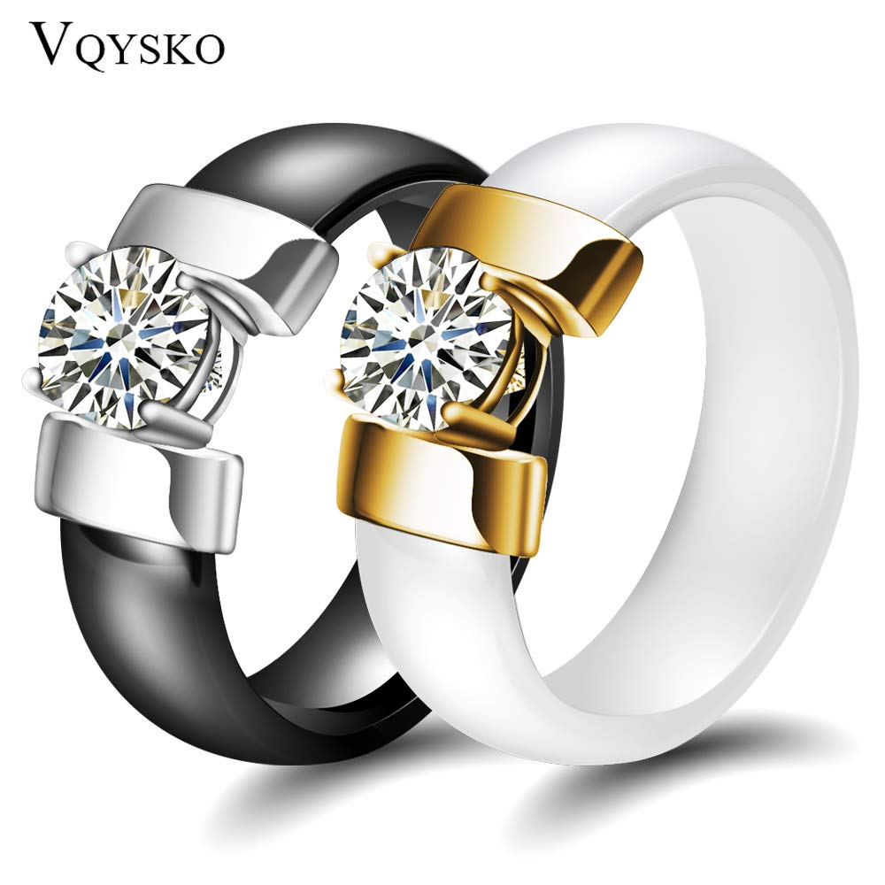 Amazon.com: JEWH 6mm White Black Ceramic Rings - Plus Cubic Zirconia for Women - Gold/Silver Color Stainless Steel Women Wedding Ring - Engagement Jewelry ...
