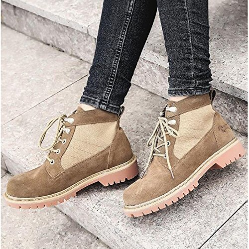 Nubuck Mid Fall Black ZHZNVX Calf Toe for HSXZ Women's Winter leather Shoes Casual Round Boots Black Boots Khaki Combat Boots Camel Heel Chunky ttqSA6B