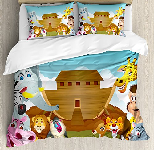 Religious Queen Size Duvet Cover Set by Ambesonne, The Ark Illustration Before Journey All Animals Myth Faith Grace Old Stories, Decorative 3 Piece Bedding Set with 2 Pillow Shams, Multicolor by Ambesonne