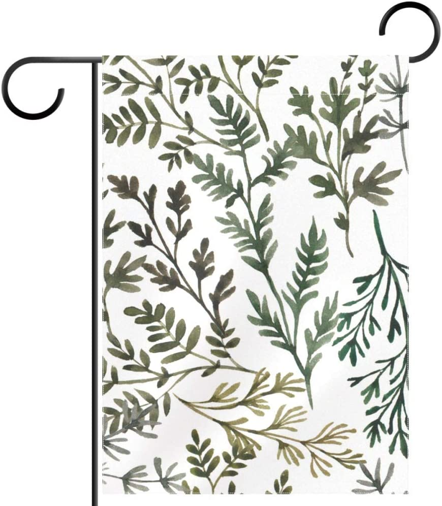 imobaby Herbal Leaves Art Polyester Garden Flag Banner 28 x 40 inches, Vintage Retro Welcome Yard Flag for Wedding Home Outdoor Garden Decor