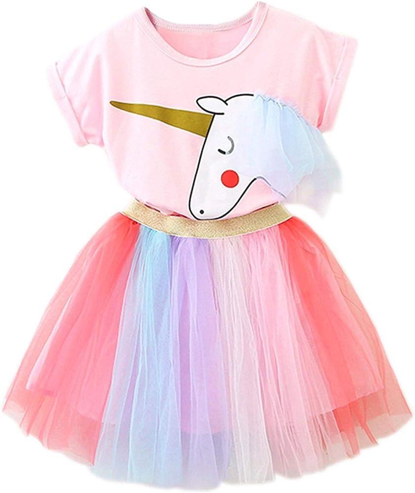 TTYAOVO Vestido Unicornio para Niñas con Tops Estampados de ...