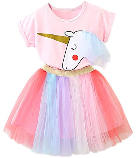 d65e6327c80eb TTYAOVO Little Girls Unicorn Dress, 2pcs Unicorn Outfits with Tops Tees &  Colorful Rainbow Tutu Skirts