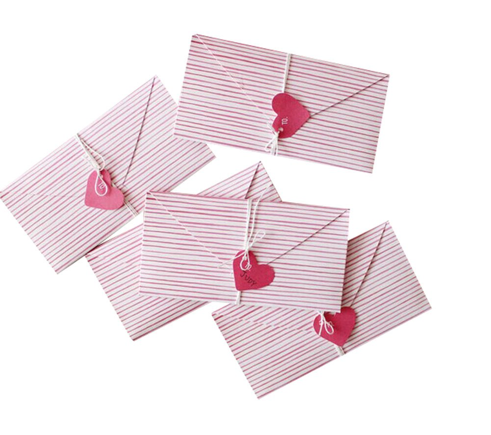 Originality DIY Hand-Made Folded Pink Strip Heart Greeting Cards/6 Piece PANDA SUPERSTORE