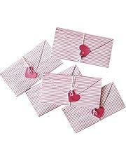 Originality DIY Hand-Made Folded Pink Strip Heart Greeting Cards/6 Piece