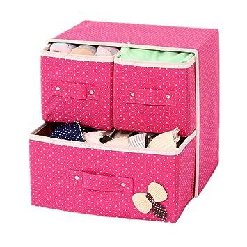 ... Almacenamiento De Ropa Armario Tocador Caja De Almacenaje del Divisor del Cajón Cesta Roja Caja para Sujetadores (Color : Rosa roja): Amazon.es: Hogar