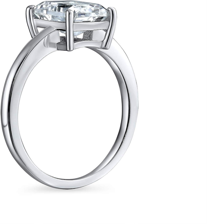 Bling Jewelry Rectángulo 2.5Ct AAA Corte Esmeralda Brillante CZ Solitario Anillo De Compromiso Banda Plata Esterlina 925 para Mujer: Amazon.es: Joyería