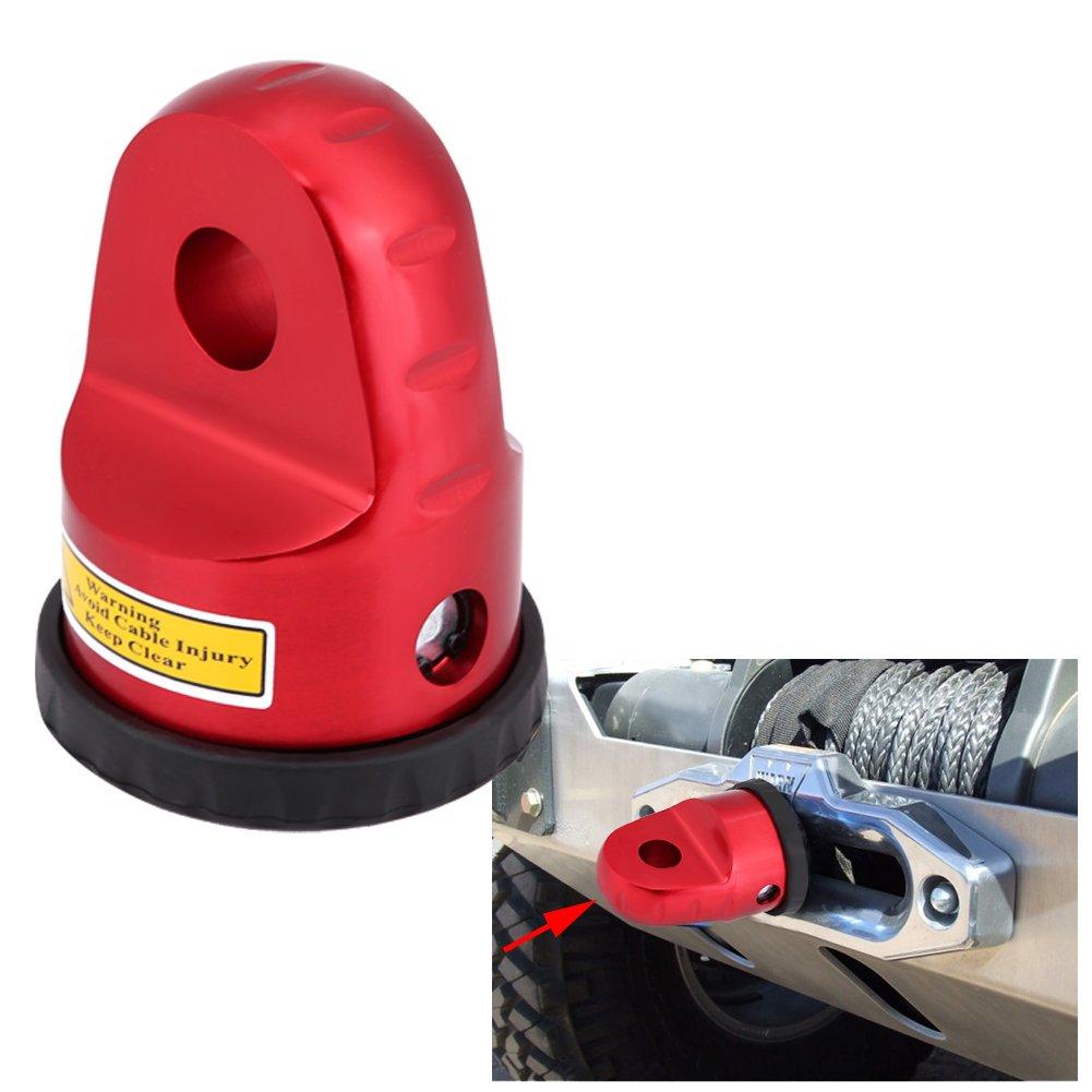 Arrastre y elevación Qiilu Aluminio Enlace Cabrestante Gancho de conexión Montar con Pin de titanio & Guardia de goma para UTV ATV Línea de cabrestante Manutención rojo