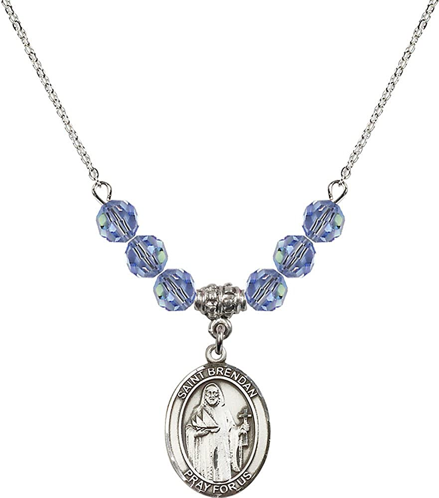 18-Inch Rhodium Plated Necklace with 6mm Light Sapphire Birthstone Beads and Sterling Silver Saint Brendan the Navigator Charm.