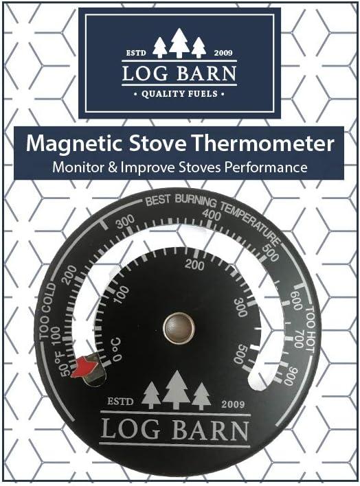 Log-Barn quemador de registro magnético y termómetro de estufa para estufas de superficie y tubo de humos. La mejor zona de temperatura de combustión-viene con tornillo libr