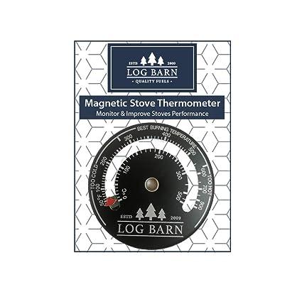 Log-Barn quemador de registro magnético y termómetro de estufa para estufas de superficie y