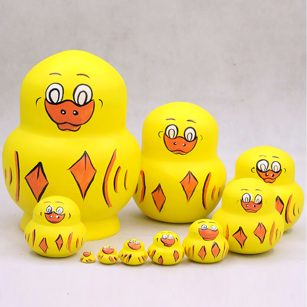 Bitopbi 10pcs Handmade Animal Nesting Dolls Cute Lovely Matryoshka Doll Russian Doll Set 10 Pieces Wooden Kids Toy Home Decoration Perfect Mother's Day Children's Day (2# Yellow Duck)