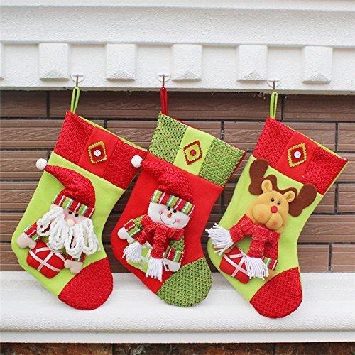 the love 3 Pcs Set Classic Christmas Stockings Santa Claus Snowmen Elk Christmas decorations (C) by the love (Image #4)