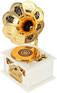 Strnek Classical Trumpet Horn Turntable Gramophone, Art Disc Music Box & Make up Case &Jewelry Box Home Decor (Brown/White) (White)