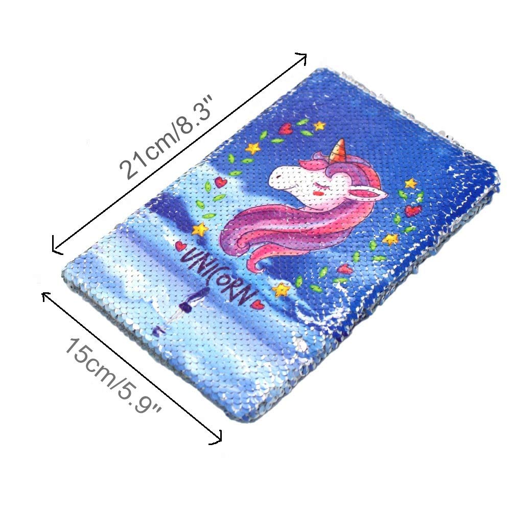 "Fanovo Sequin Notebook, Unicorn Journal, Mermaid Reversible Sequin Diary with Lock and Key, Size A5 (8.5"" x 5.5"") , + 1 Sheet Photo Corner + 2 Pens (Unicorn-Blue 1)"