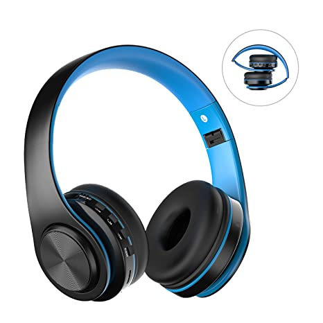 8a0b81a79b4f8b Cuffie Bluetooth Senza Fili con Microfono, ZLX Pieghevole Over-Ear Wireless  Bluetooth headphones per