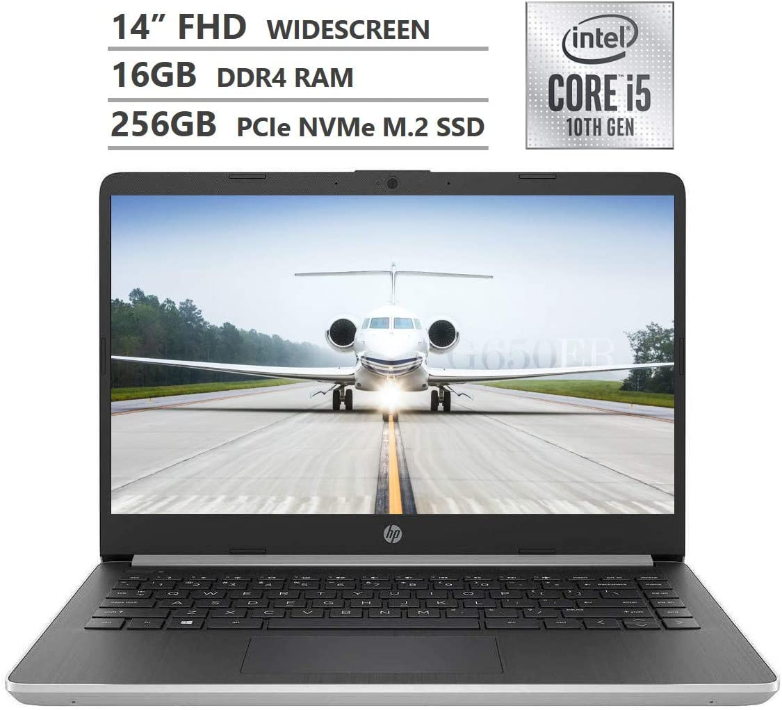"2019 Newest HP Notebook 14"" FHD IPS Micro-Edge Laptop, 10th Gen Intel Core i5-1035G1 Powerful Processor up to 3.60GHz, 16GB RAM, 256GB PCIe NVMe M.2 SSD, Wireless-AC, Bluetooth, Windows 10, Silver"