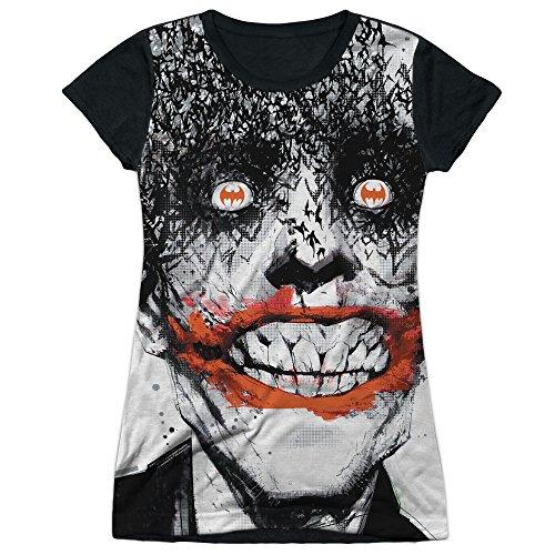Price comparison product image Batman Comic Book Creepy Joker Bats On The Brain Juniors Black Back T-Shirt Tee