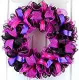 Black Pink Mesh Door Wreath | Everyday Front Door Outdoor Wreath | Black Hot Fuchsia Pink Purple