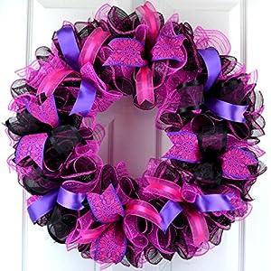 Black Pink Mesh Door Wreath | Everyday Front Door Outdoor Wreath | Black Hot Fuchsia Pink Purple 26