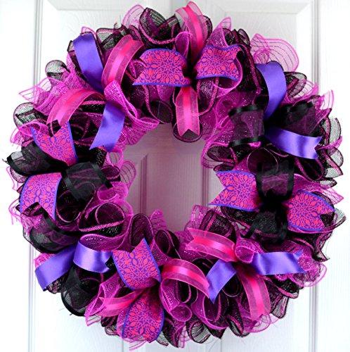 Black Pink Mesh Door Wreath | Everyday Front Door Outdoor Wreath | Black Hot Fuchsia Pink Purple